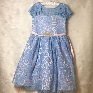 Girls Periwinkle Lace Spring Dress
